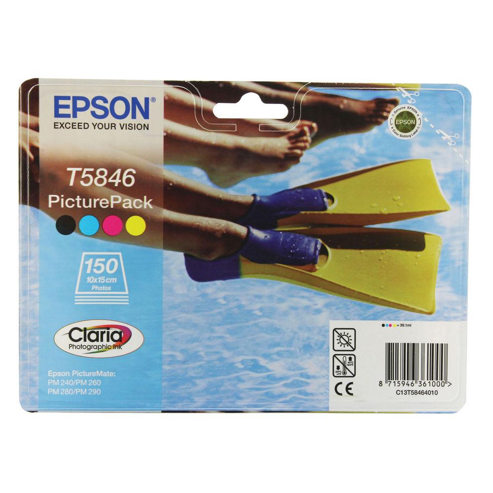 Epson T5846 Black /Cyan/Magenta/Yellow Inkjet Cartridges Pk4 Plus Photo Paper C13T58464010 / T5846