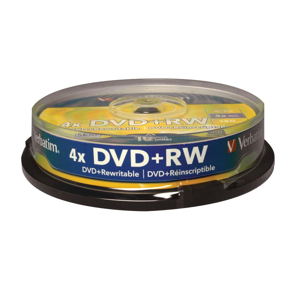 Verbatim Non-Printable 4.7GB 4x DVD+RW Discs, Pack of 10 - 43488