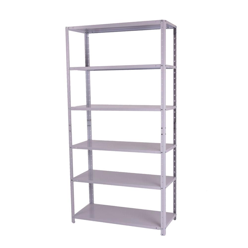 Storage Solutions Medium Duty Bolted 6-Shelf Unit Grey ZZBS6GR180C09031