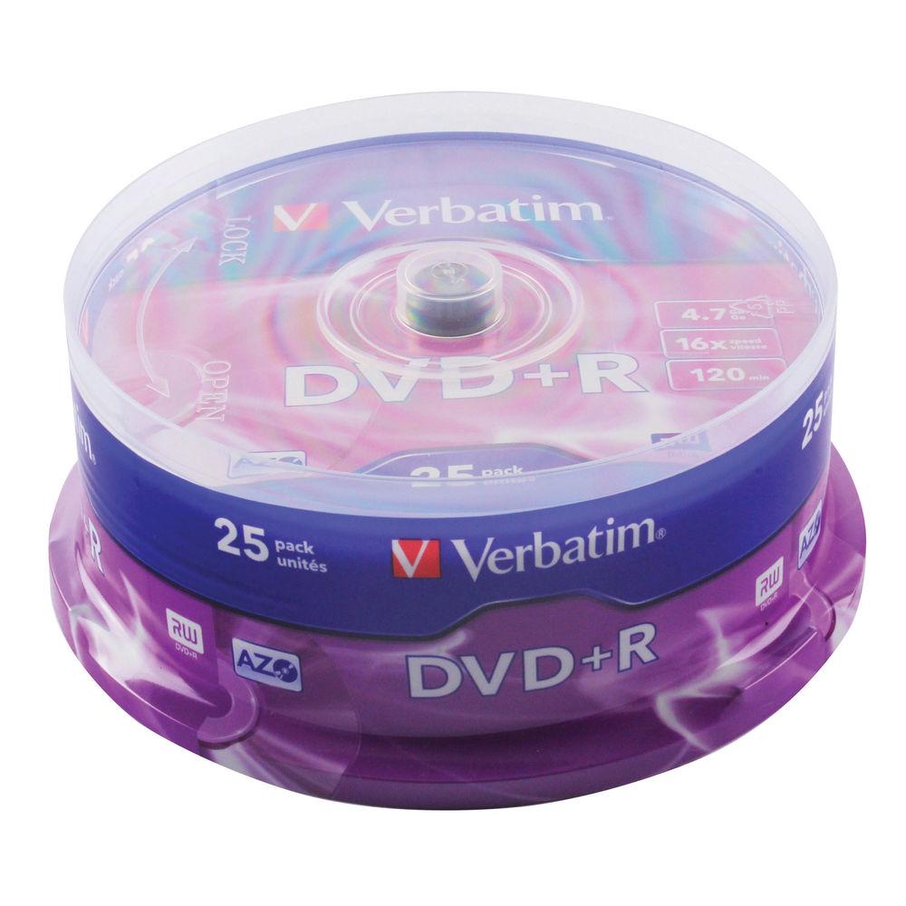 Verbatim 4.7GB 16x Speed DVD+R Spindle, Pack of 25 | 43500