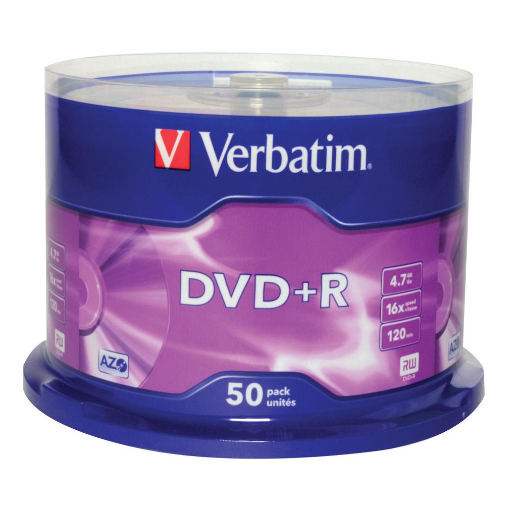 Verbatim Non-Printable 4.7GB 16x DVD+R Discs, Pack of 50 - 43550
