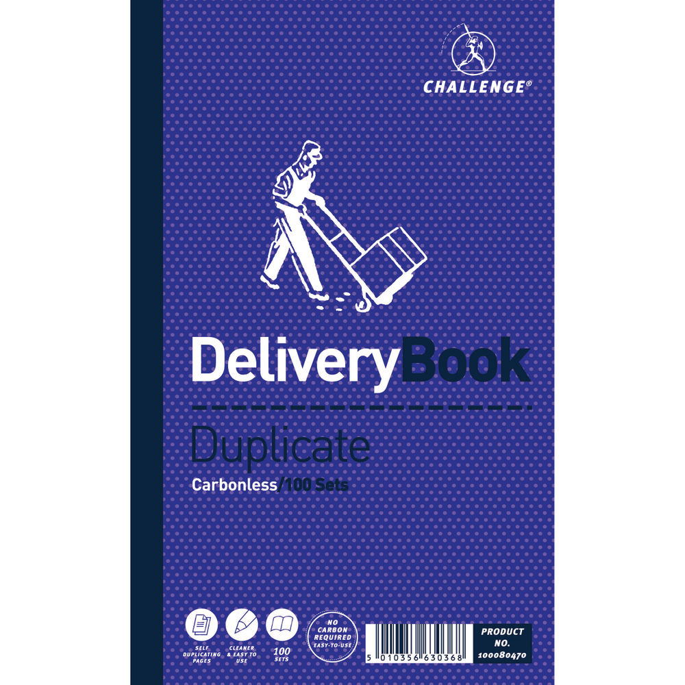 Challenge Carbonless Duplicate Delivery Book, 100 Slips (Pack of 5) - F63036