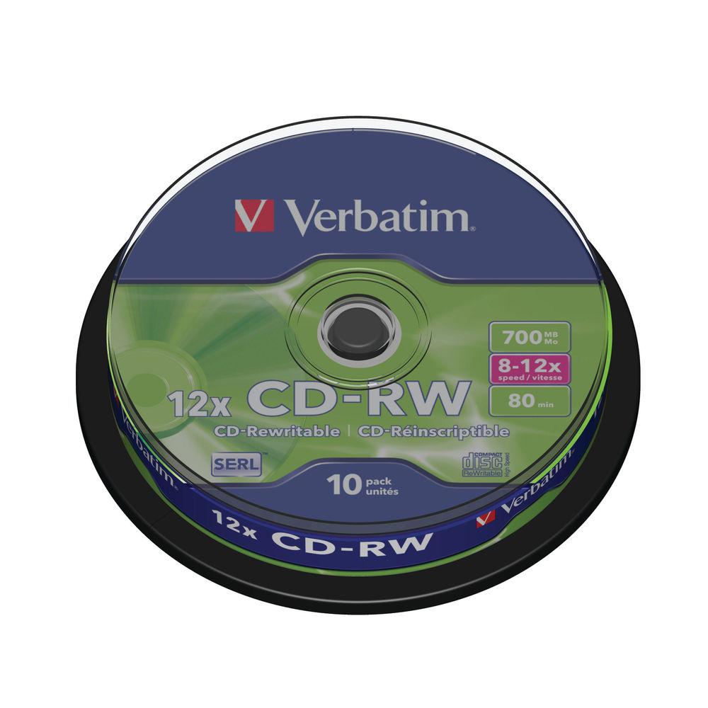 Verbatim 700MB 12x Speed CD-RW Spindle, Pack of 10 | 43480