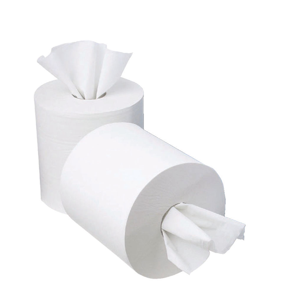 2Work White 1ply Mini Centrefeed Paper Rolls, Pack of 12 - CWH130