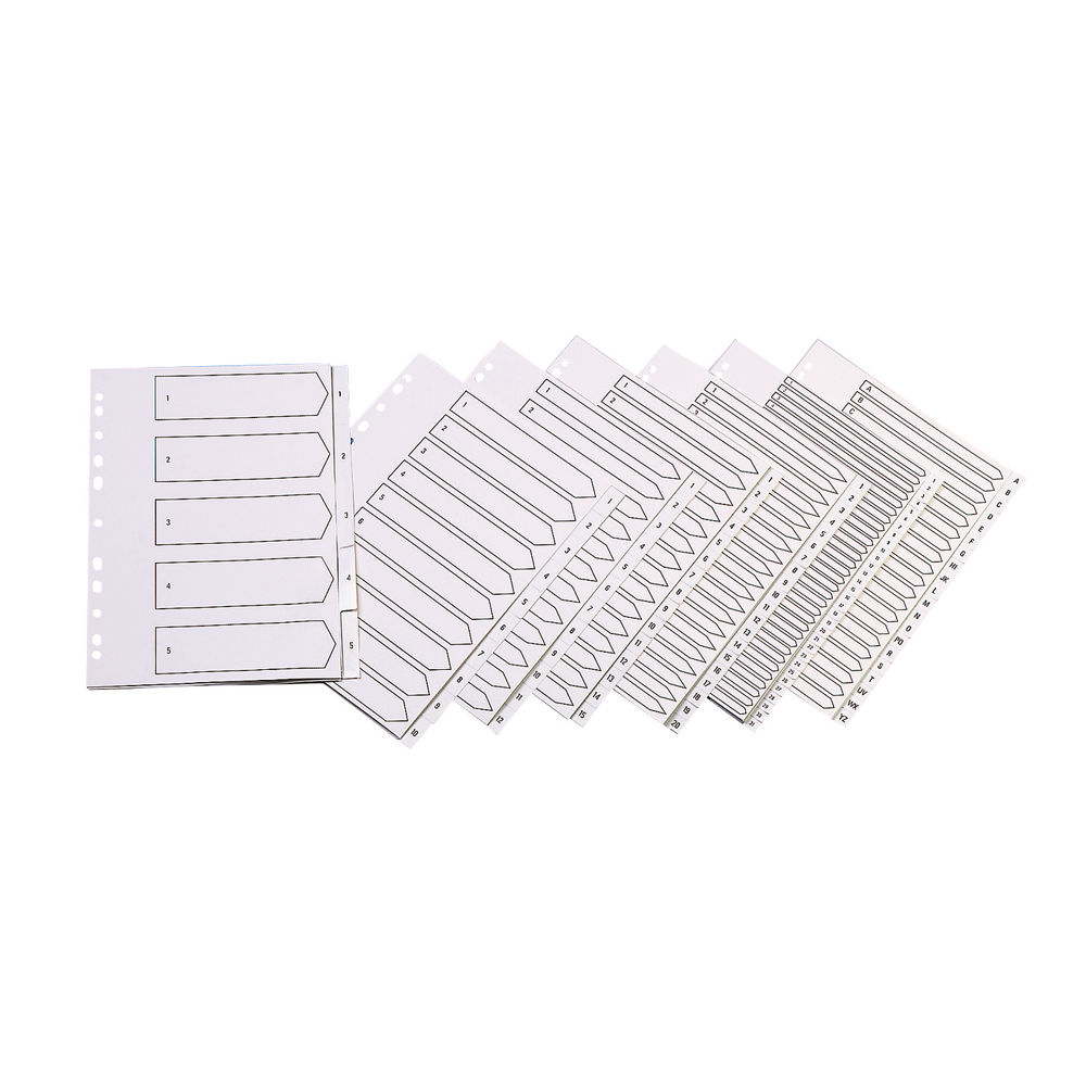 Q-Connect White A4 20-Part Multi-Punched Polypropylene Index Dividers - KF01351