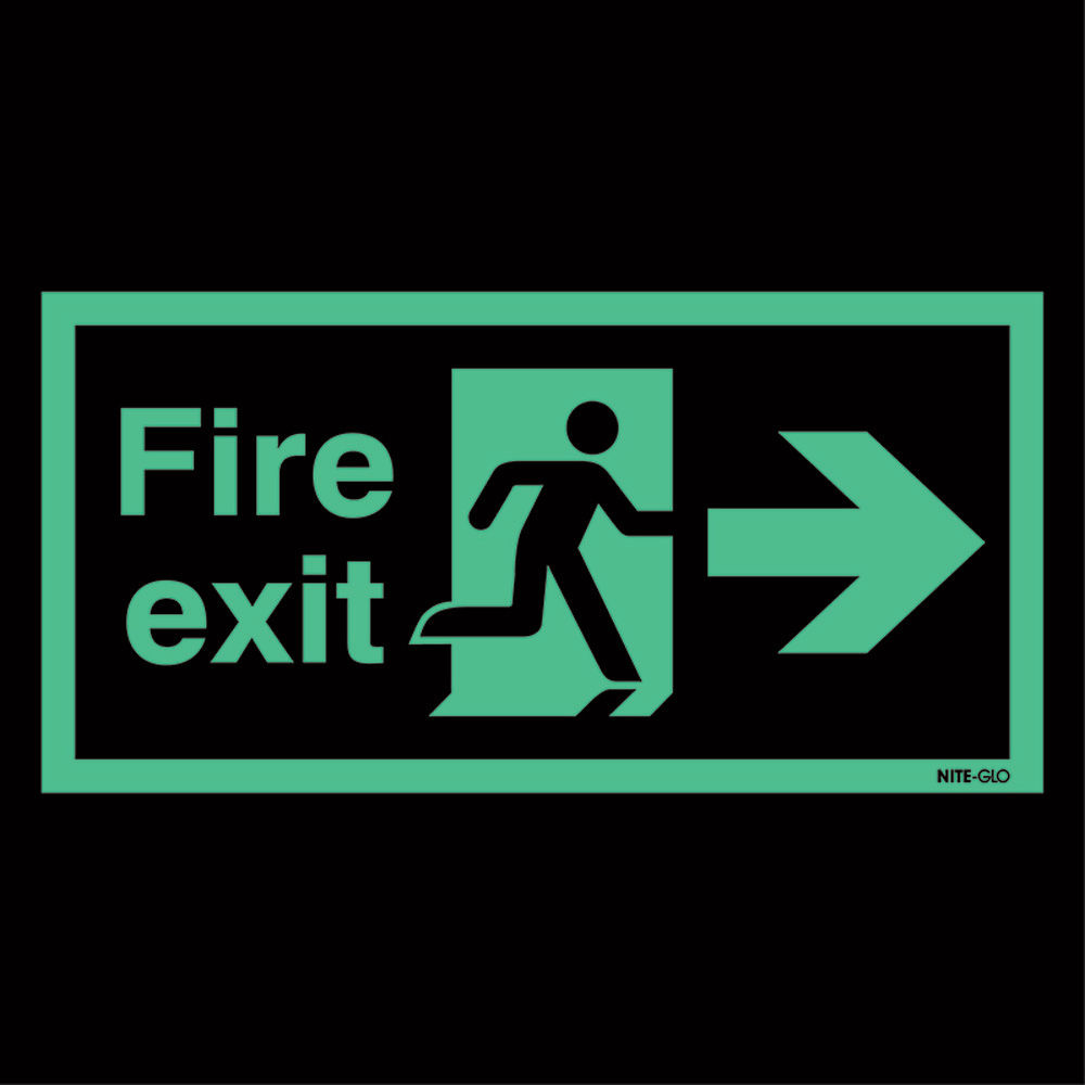Safety Sign Niteglo Fire Exit Running Man Arrow Right 150 x 450mm - NG26A/S