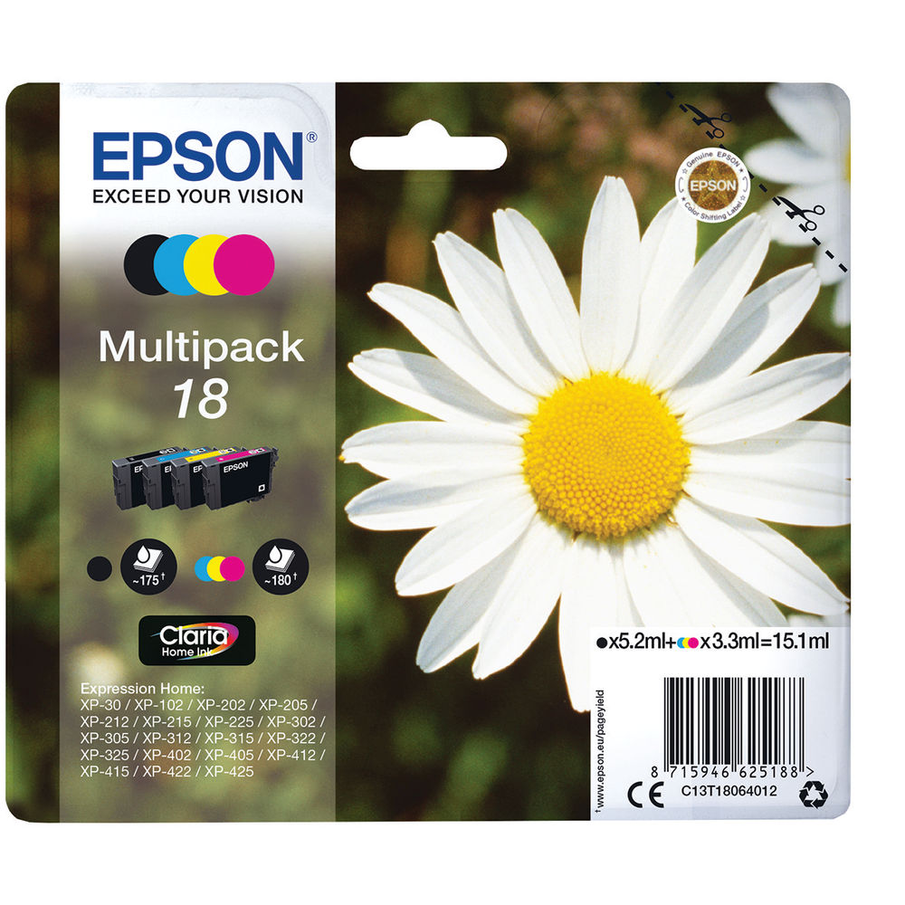 Epson 18 Black and Colour Ink Multipack - C13T18064012