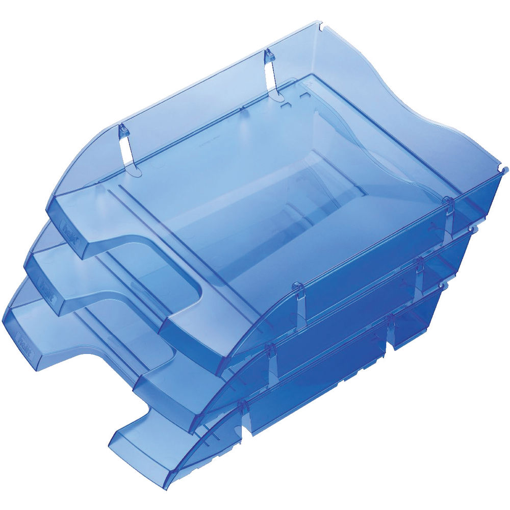 Helit PET Recycled Blue Shatterproof Letter Tray - H2363530