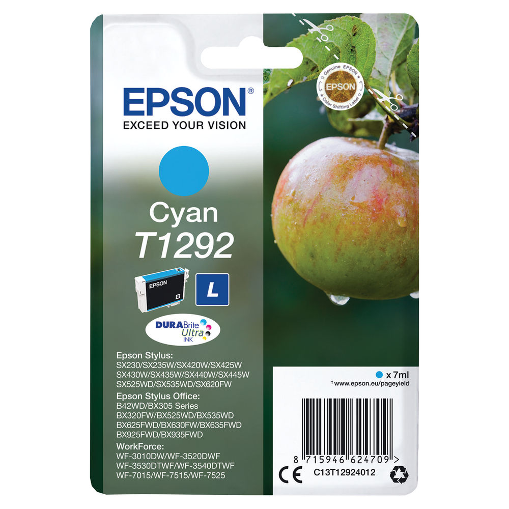 Epson T1292 Cyan Ink Cartridge C13T12924012