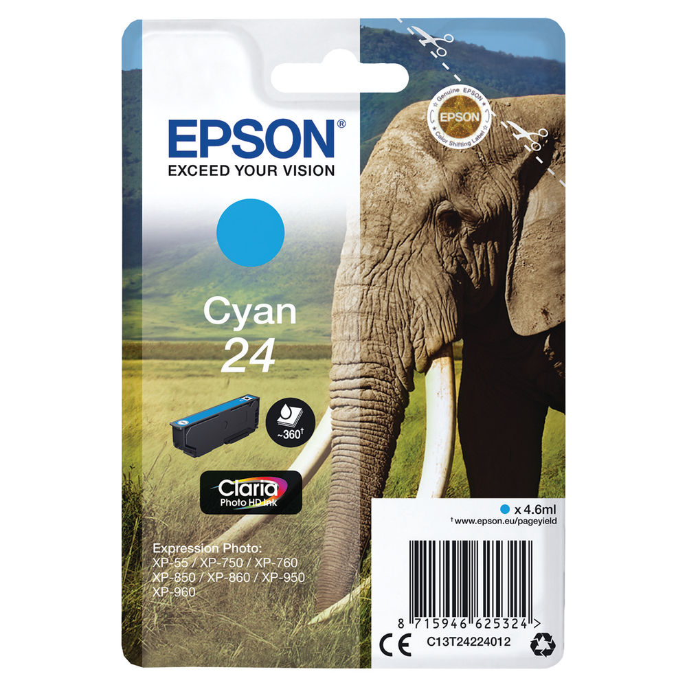 Epson 24 Cyan Ink Cartridge - C13T24224012