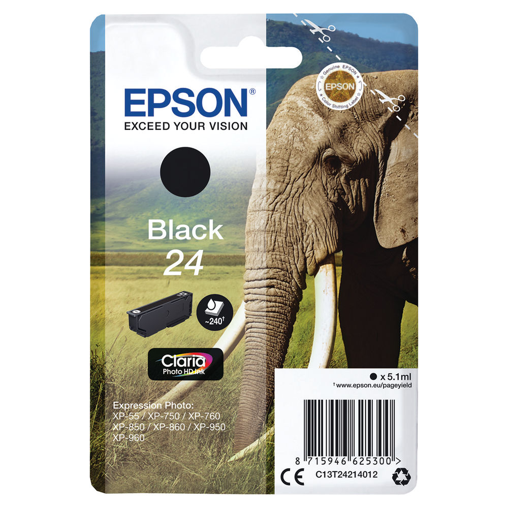 Epson 24 Black Ink Cartridge - C13T24214012