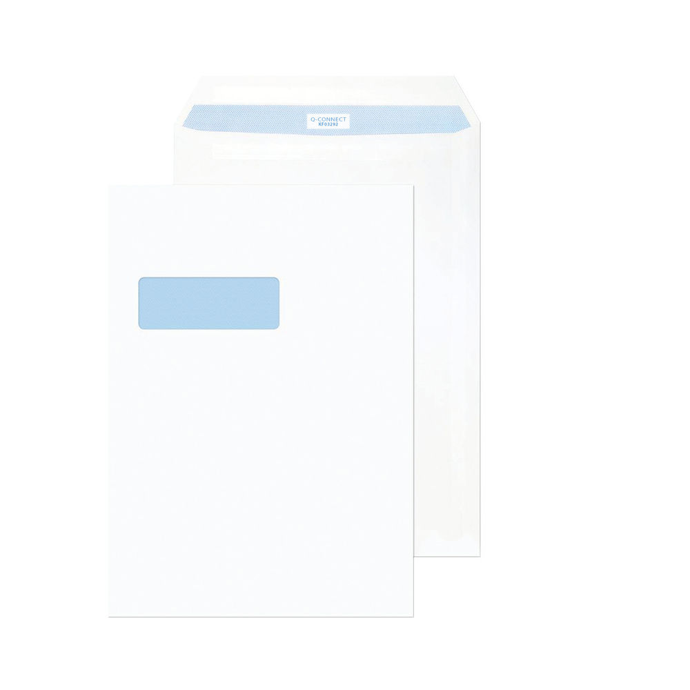 Q-Connect White C4 Peel and Seal Window Envelopes 100gsm, Pack of 250 - KF03292