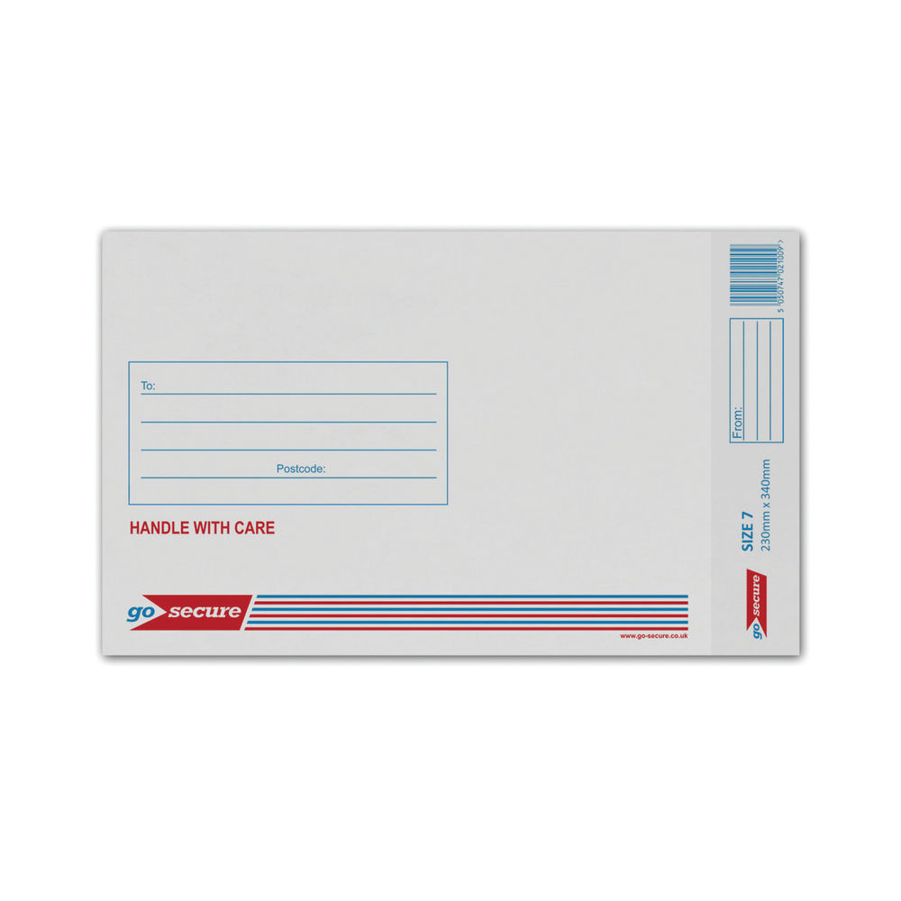 Go Secure White Size 7 Bubble Lined Envelopes, Pack of 50 - KF71451