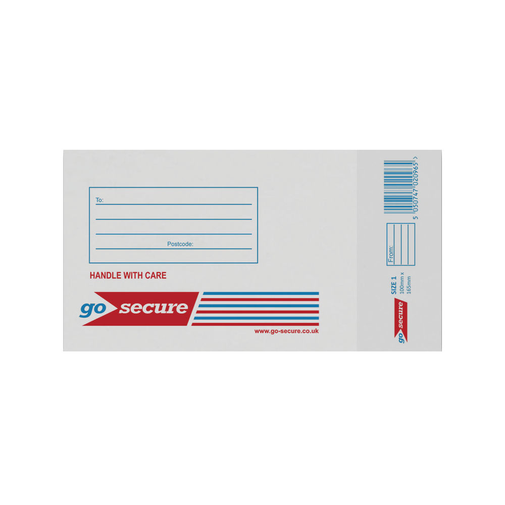 Go Secure White Size 1 Bubble Lined Envelopes, Pack of 100 - KF71447