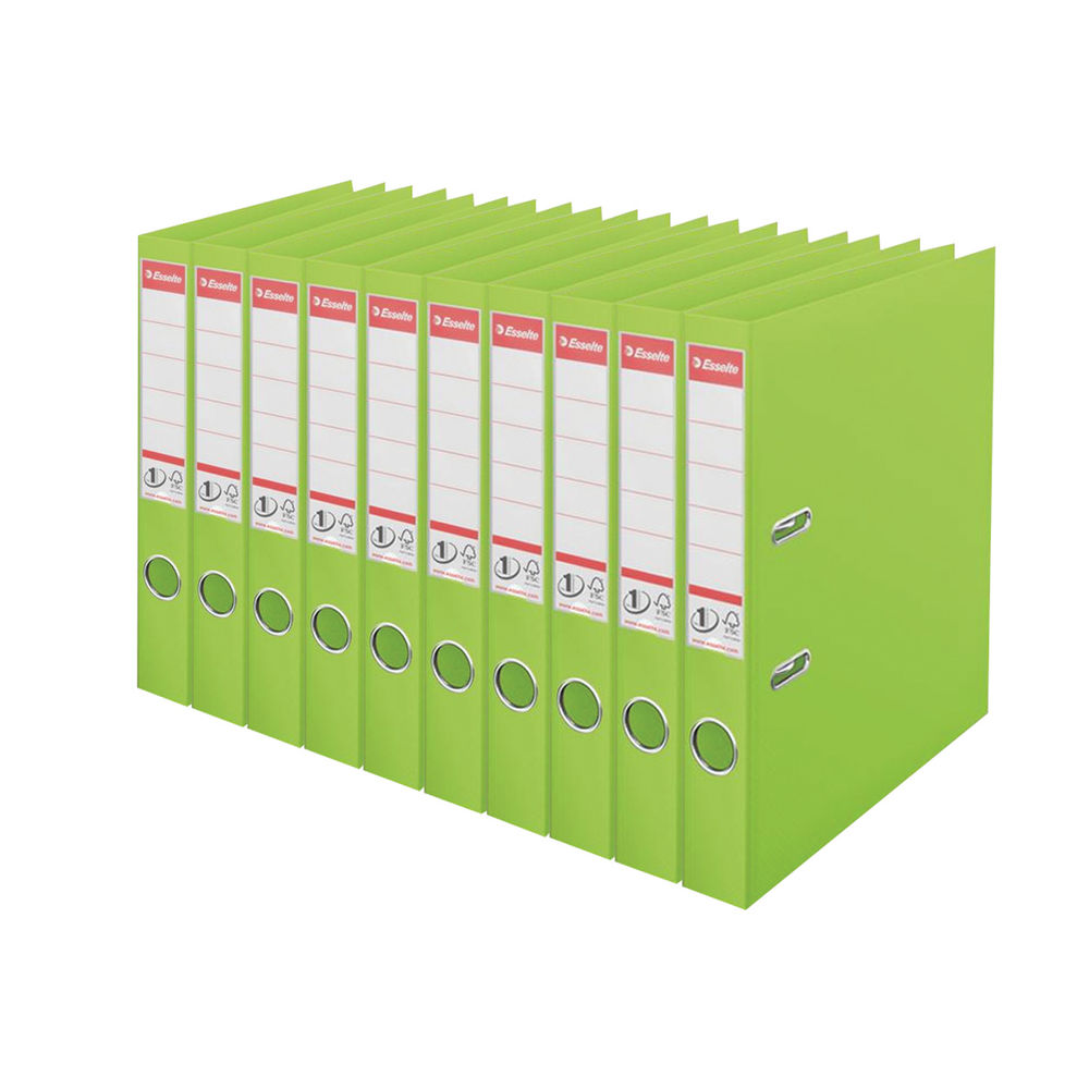 Esselte No.1 Power Green A4 Lever Arch Files 50mm, Pack of 10 - 48076