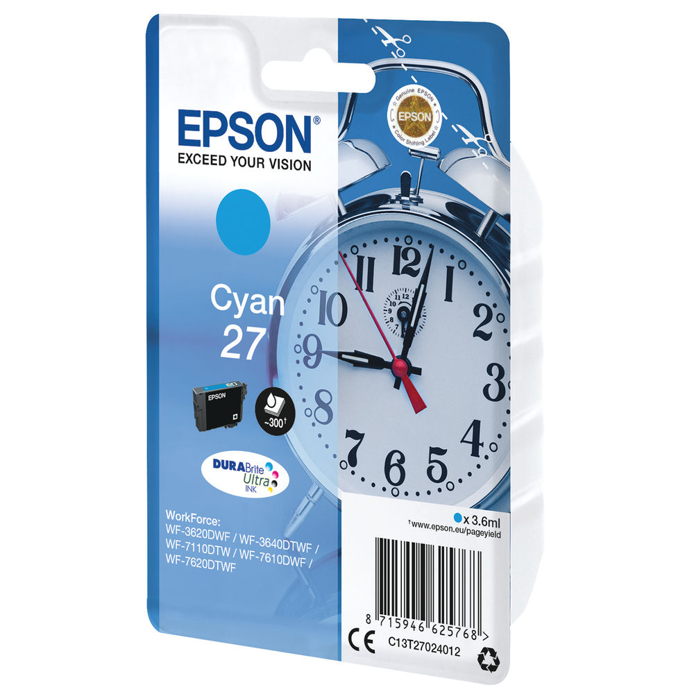 Epson 27 Cyan Ink Cartridge - C13T27024012