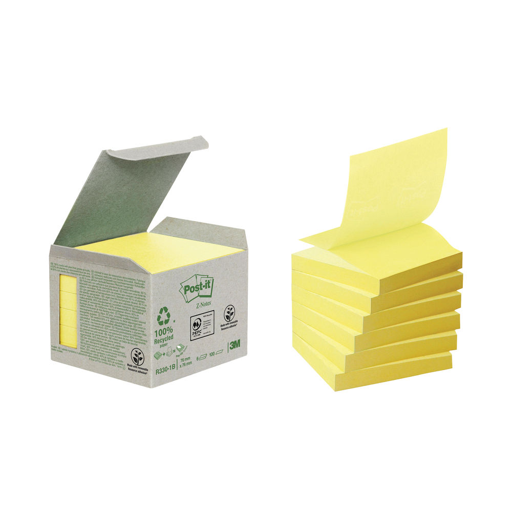 Post-it 76 x 76mm Canary Yellow Recycled Z-Notes, Pack of 6 - R330-1B
