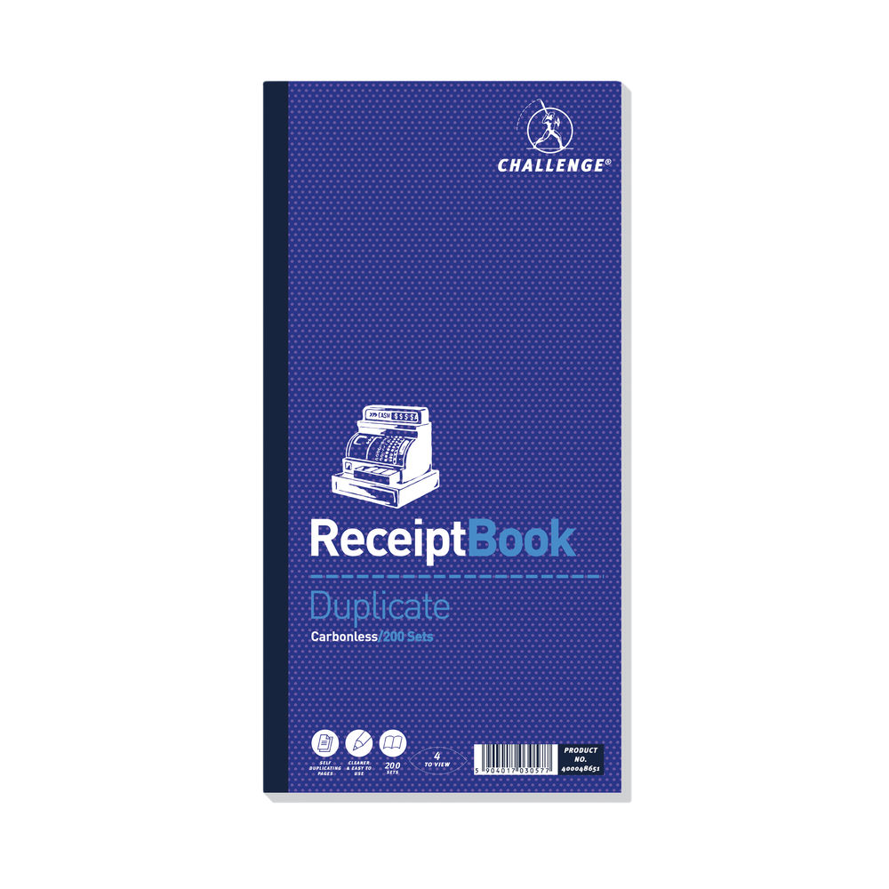 Challenge 280 x 141mm Carbonless Duplicate Receipt Book - 400048651