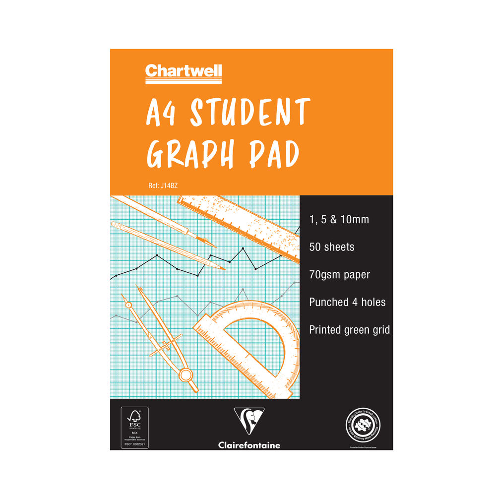 Clairefontaine Chartwell 1/5/10mm Graph Pad A4 50 Leaf J14B