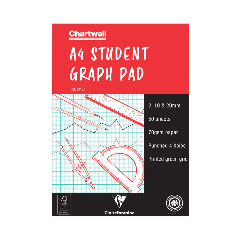 Clairefontaine Chartwell 2/10/20mm Graph Pad A4 50 Leaf J34B