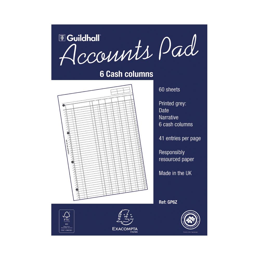 Guildhall 6 Cash Columns Account Pad - 081112