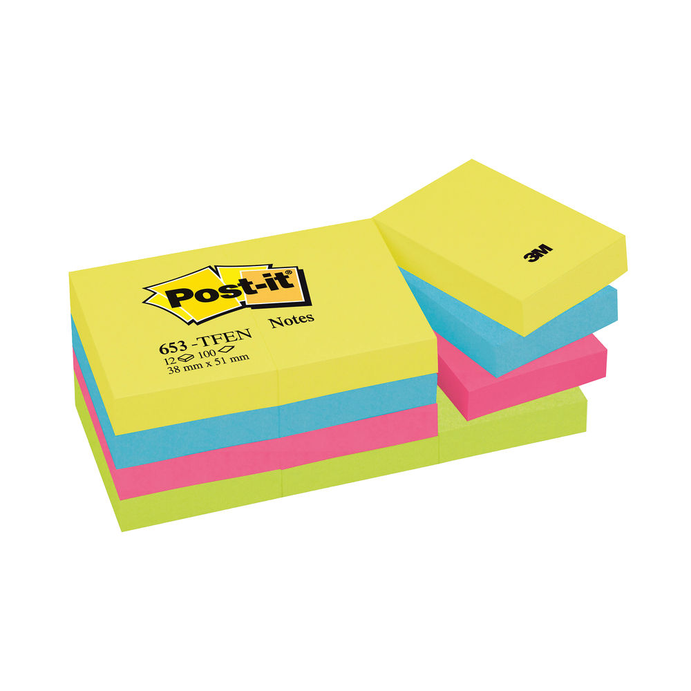 Post-it 38 x 51mm Energy Notes, Pack of 12 - 653TF