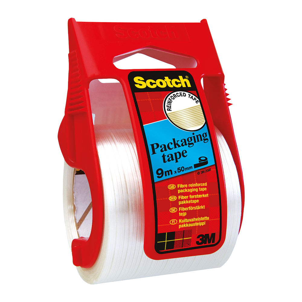 Scotch Tape - Reinforced Clear Packaging Tape and Easy Start Dispenser - X.5009D