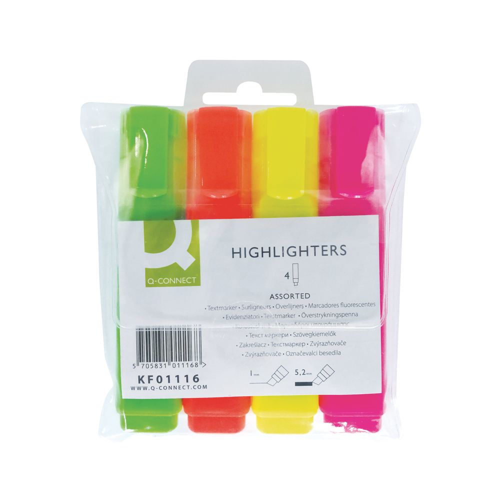 Q-Connect Assorted Highlighter Pens, Pack of 4 - KF01116