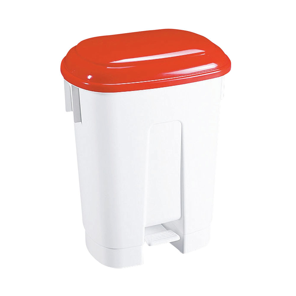 Derby Plastic Pedal Bin 30 Litre White/Red (Dimensions: W470 x D360 x H510mm) 348021
