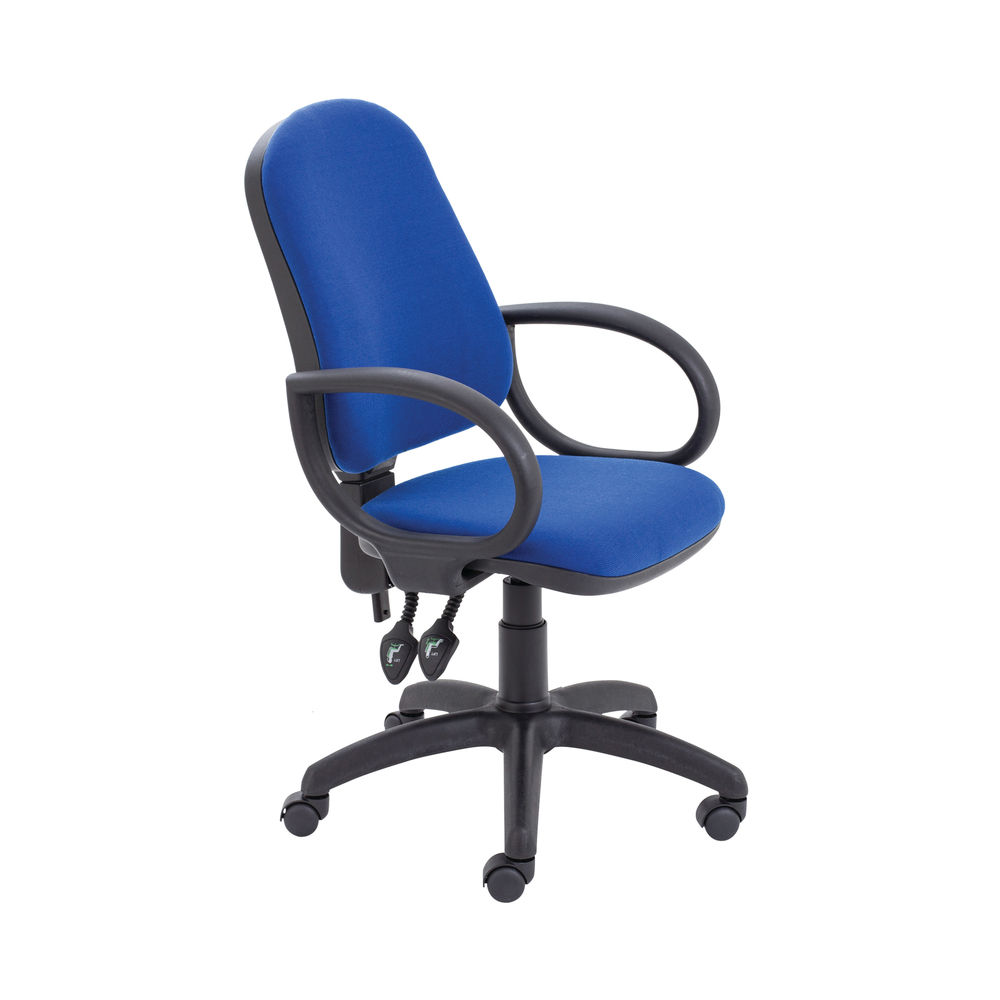 First Blue High Back Fixed Arms Operators Office Chair