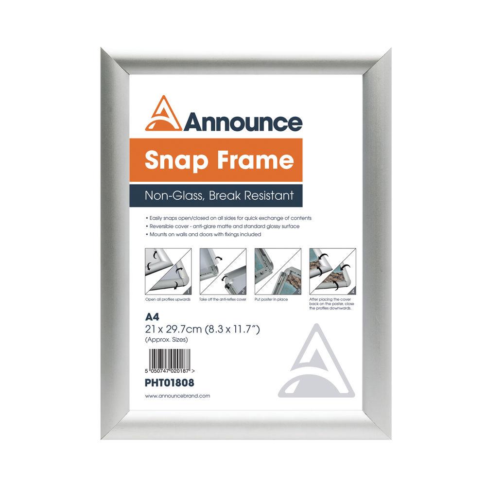 Announce Silver A4 Snap Frame - SNAPA4S