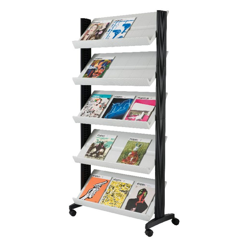 Fast Paper Grey Mobile Literature Display with wheeled base (5 adjustable shelves) 255N.02