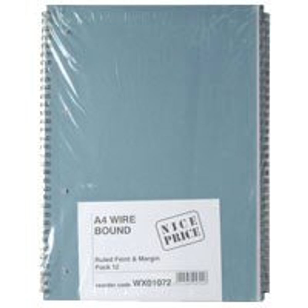 Blue A4 80 Leaf Spiral Pads, Pack of 12 - WX01072