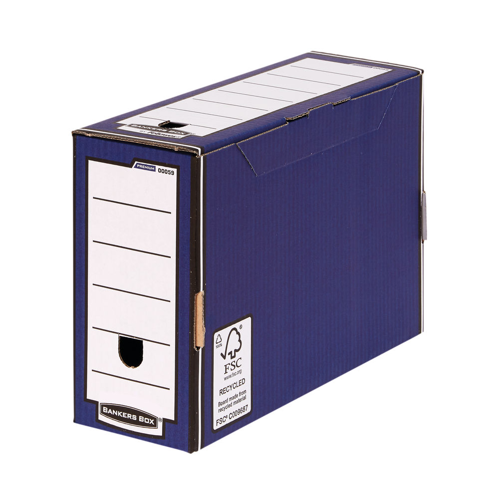 Bankers Box Blue/White Premium Transfer Files, Pack of 10 - 0005902