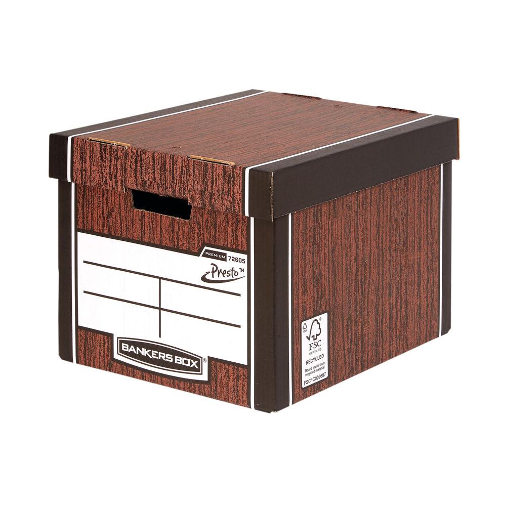 Bankers Box Wood Grain Premium Classic Boxes, Pack of 5 - 7250513