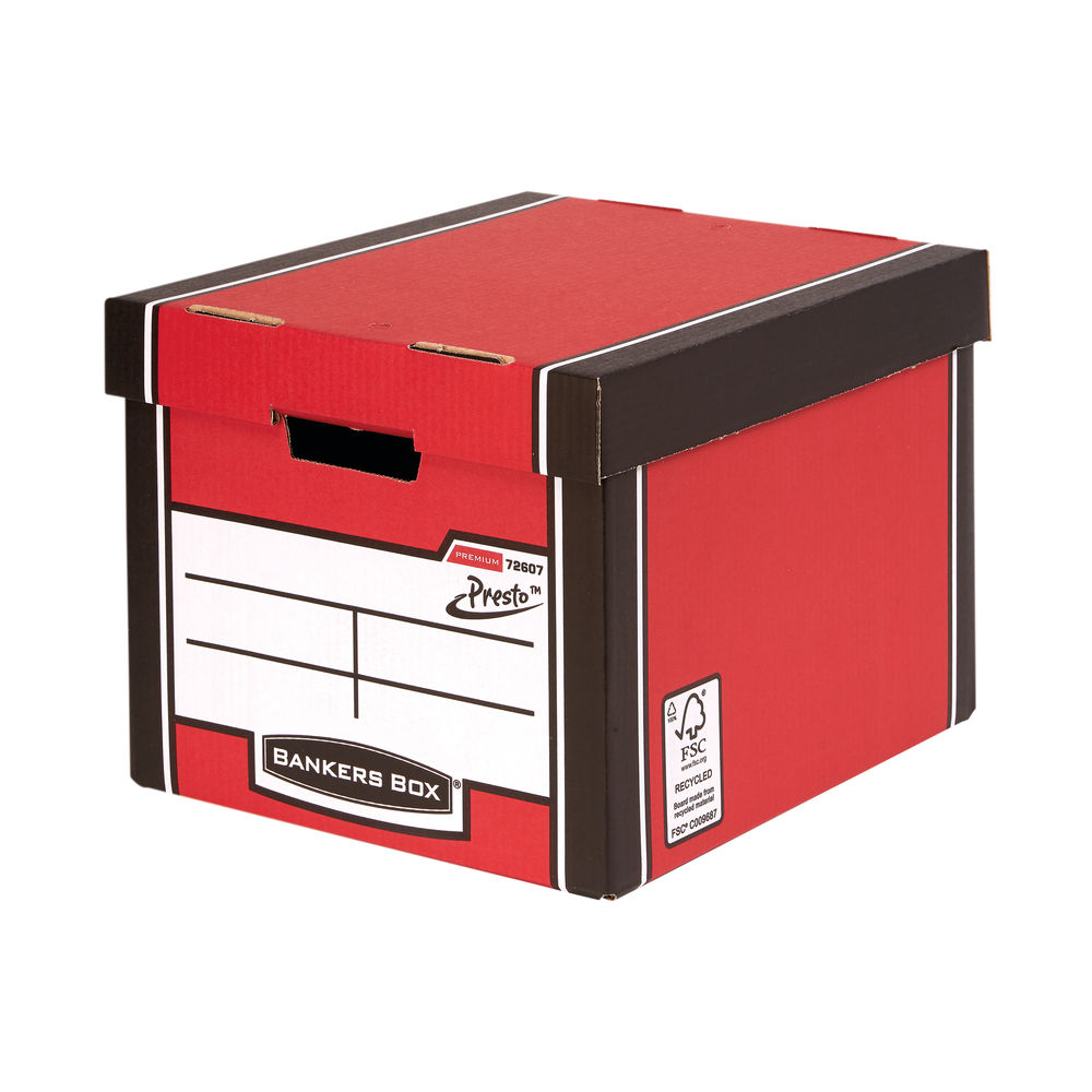 Fellowes Bankers Box Premium Presto Red Tall Storage Box, Pk of 10+2 - 00728-FF