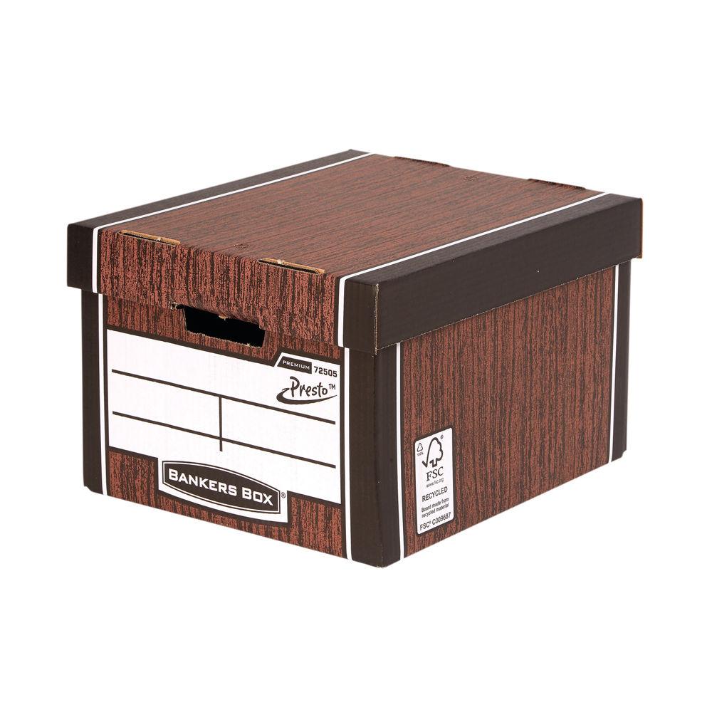 Bankers Box Woodgrain Premium Presto Storage Boxes, Pack of 10 - 7250503