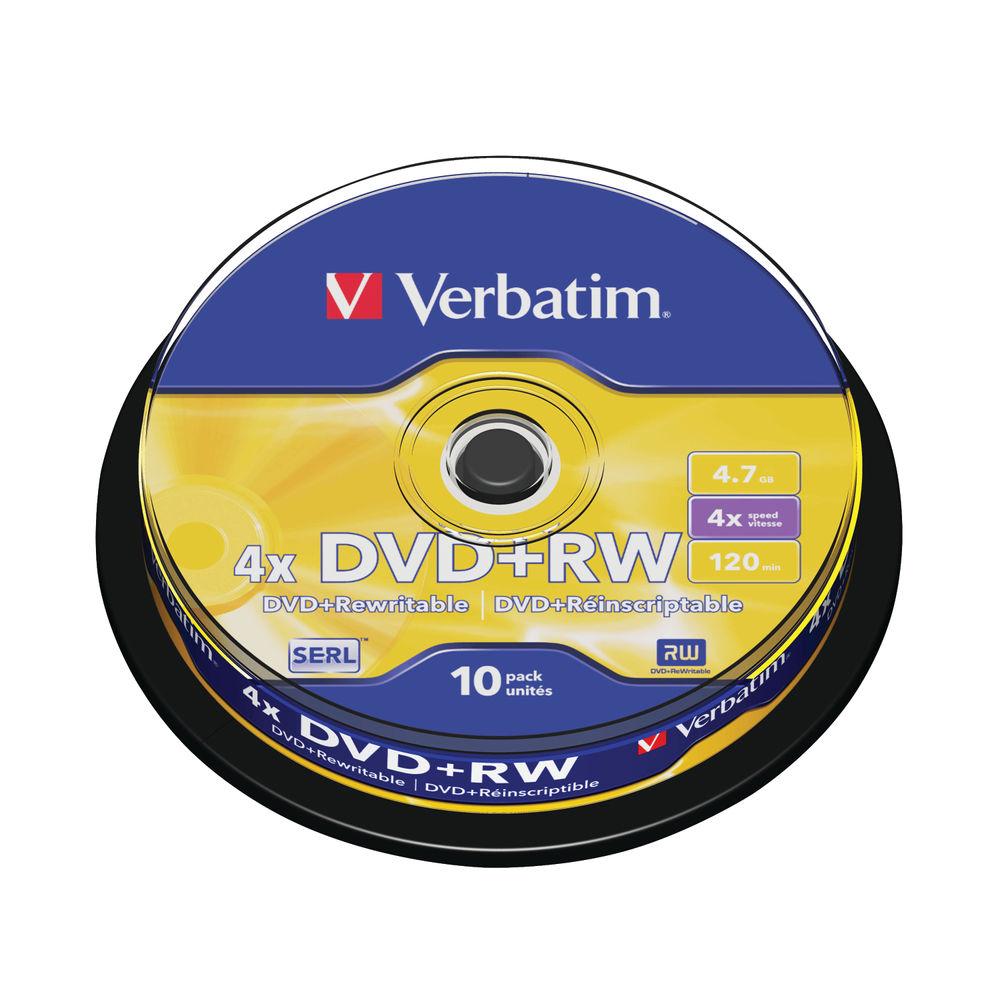 Verbatim 4.7GB 4x Speed Rewriteable DVD+RW Spindle, Pack of 10 | 43488