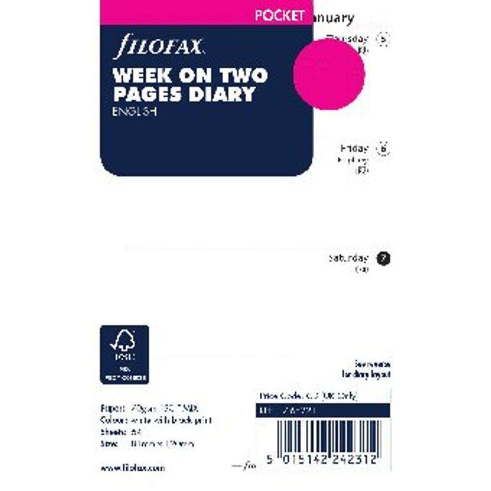 Filofax Refill Pocket Week To View 2020 (For Filofax Pocket Organisers) 20-68221