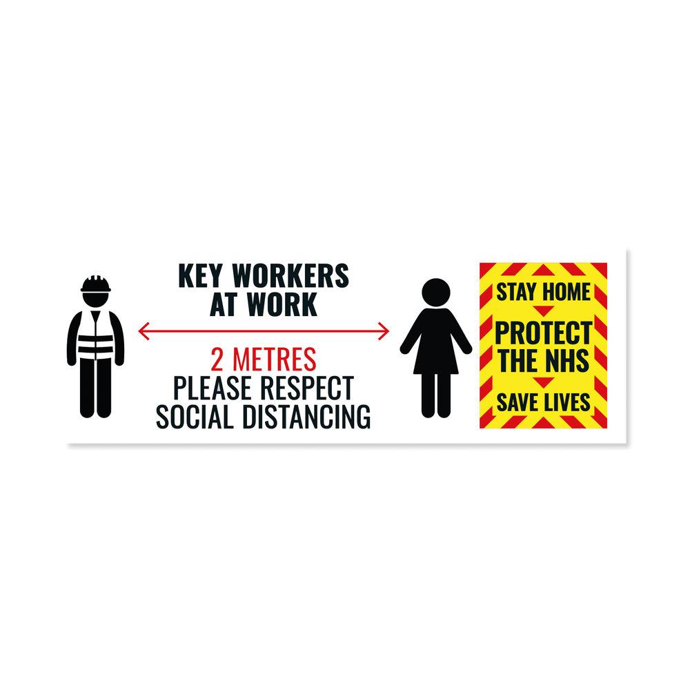 Social Distance Key Worker Warning Sticker 450mm (Pack of 5) Keyworkerstick01