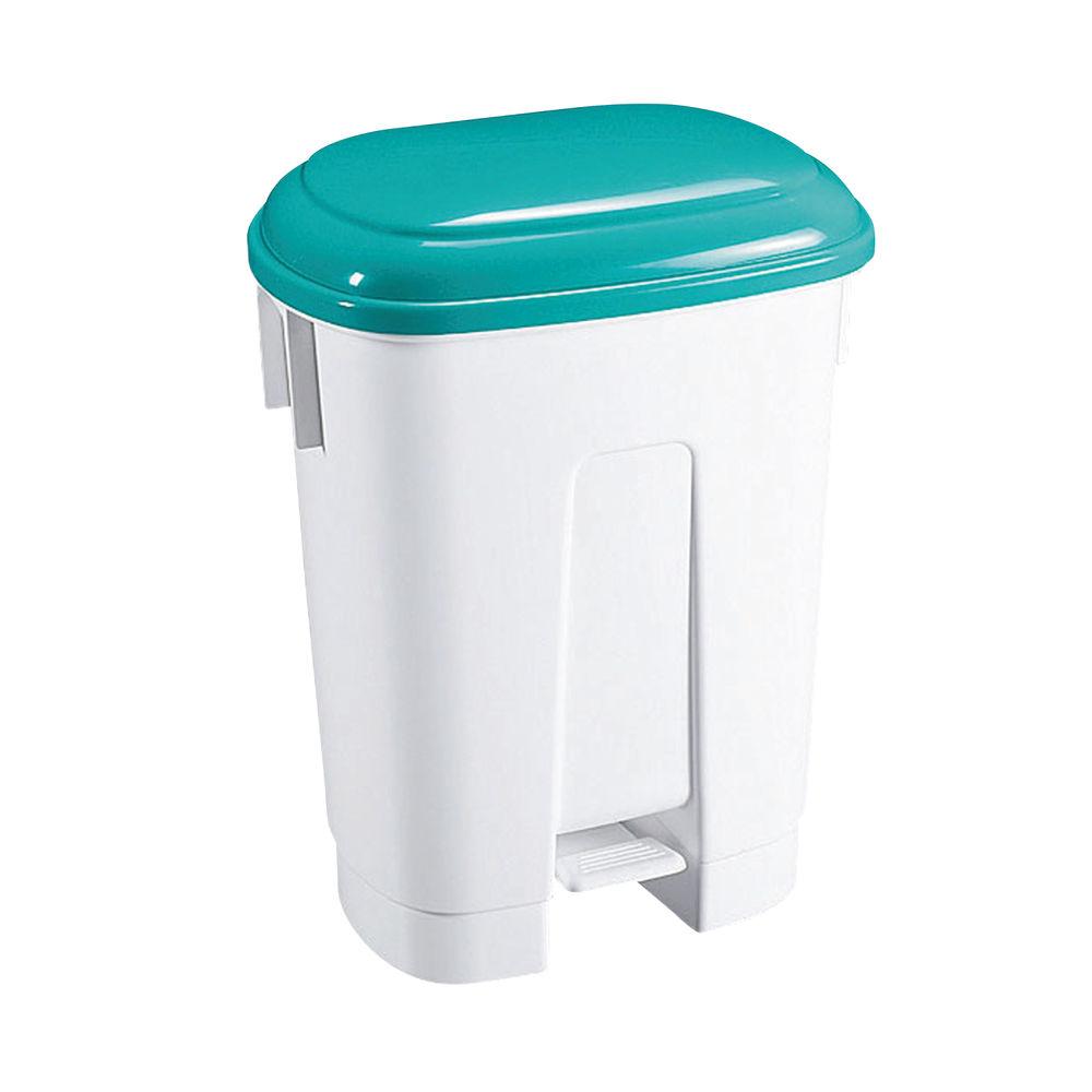Derby Plastic Pedal Bin 30 Litre White/Green 348024