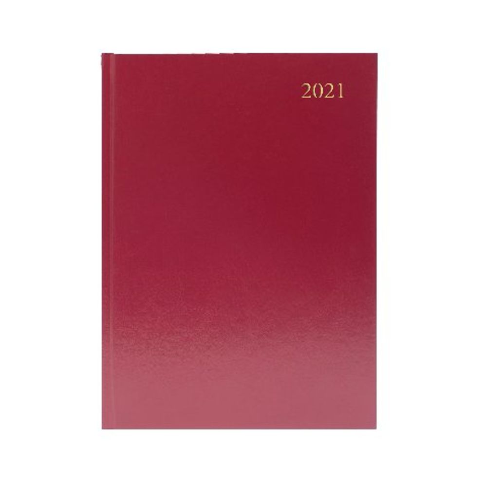 Desk Diary Week to View A5 Burgundy 2021 KFA53BG21