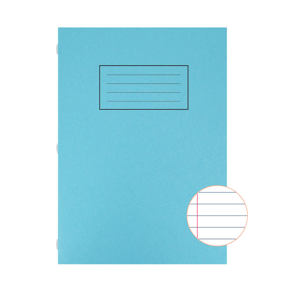 Silvine Exercise Book Ruled with Margin A4 Blue (Pack of 10) EX108
