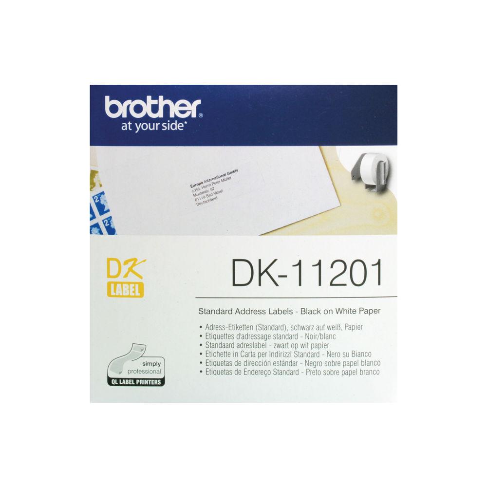 Brother Standard Black on White Address Labels, Pack of 400 - DK11201