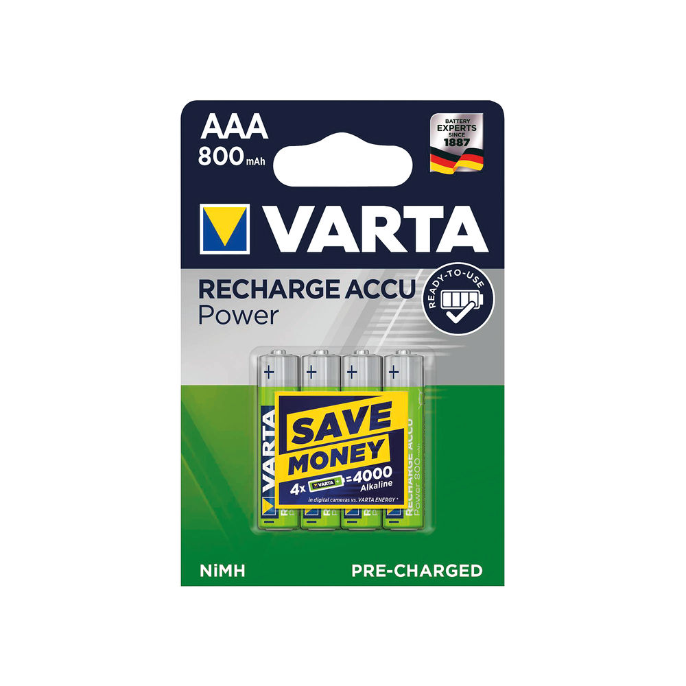 Varta AAA Rechargeable Accu Battery NiMH 800 Mah (Pack of 4) 56703101404