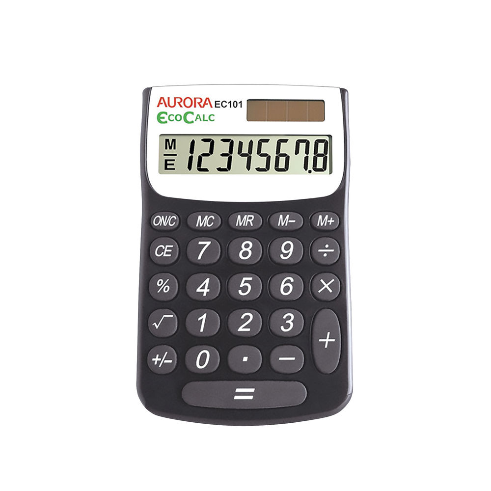 Aurora Recycled EC101 Pocket Calculator, 8 Digit Display - EC101
