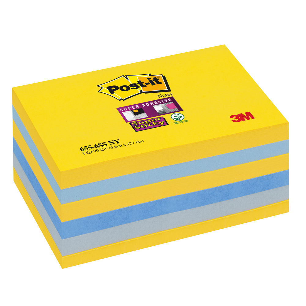 Post-it New York 76 x 127mm Super Sticky Notes, Pack of 6 - 655-SS-NY