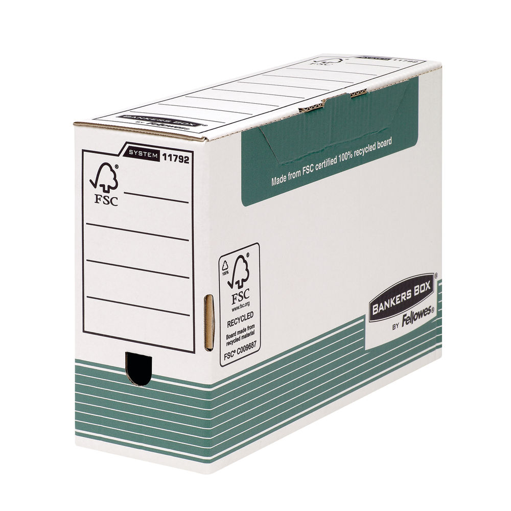 Bankers Box Foolscap Green Transfer Files, Pack of 10 - 1179201