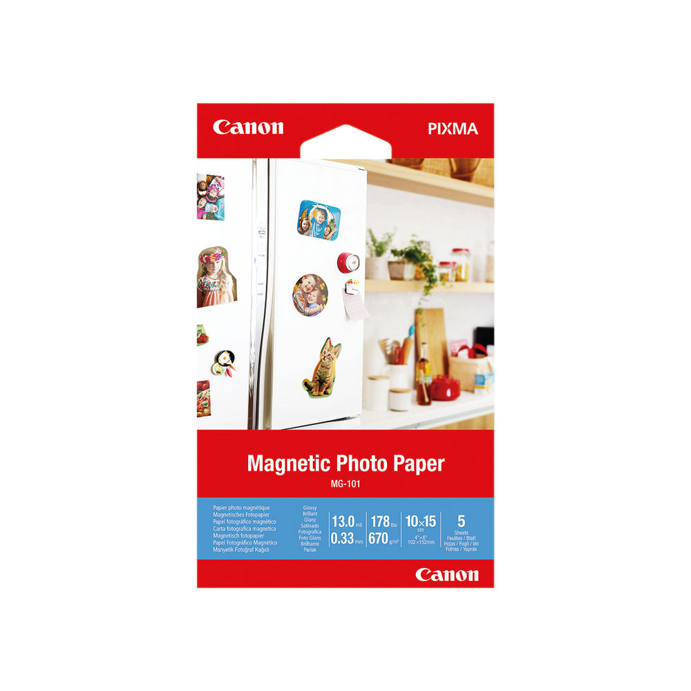 Canon 4 x 6 Inch MG-101 Magnetic Photo Paper (Pack of 5) – 3634C002