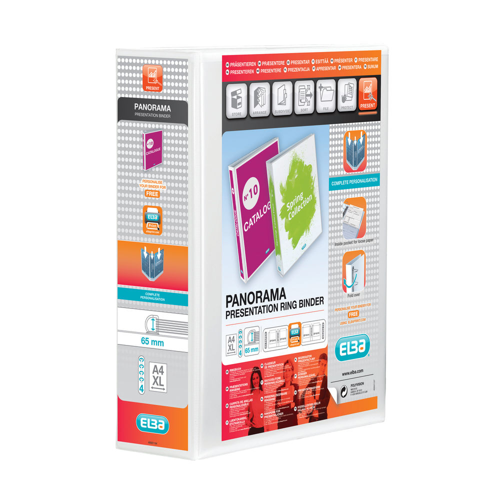 Elba Panorama White A4 4 D-Ring Binder 65mm, Pack of 4 - 400008673